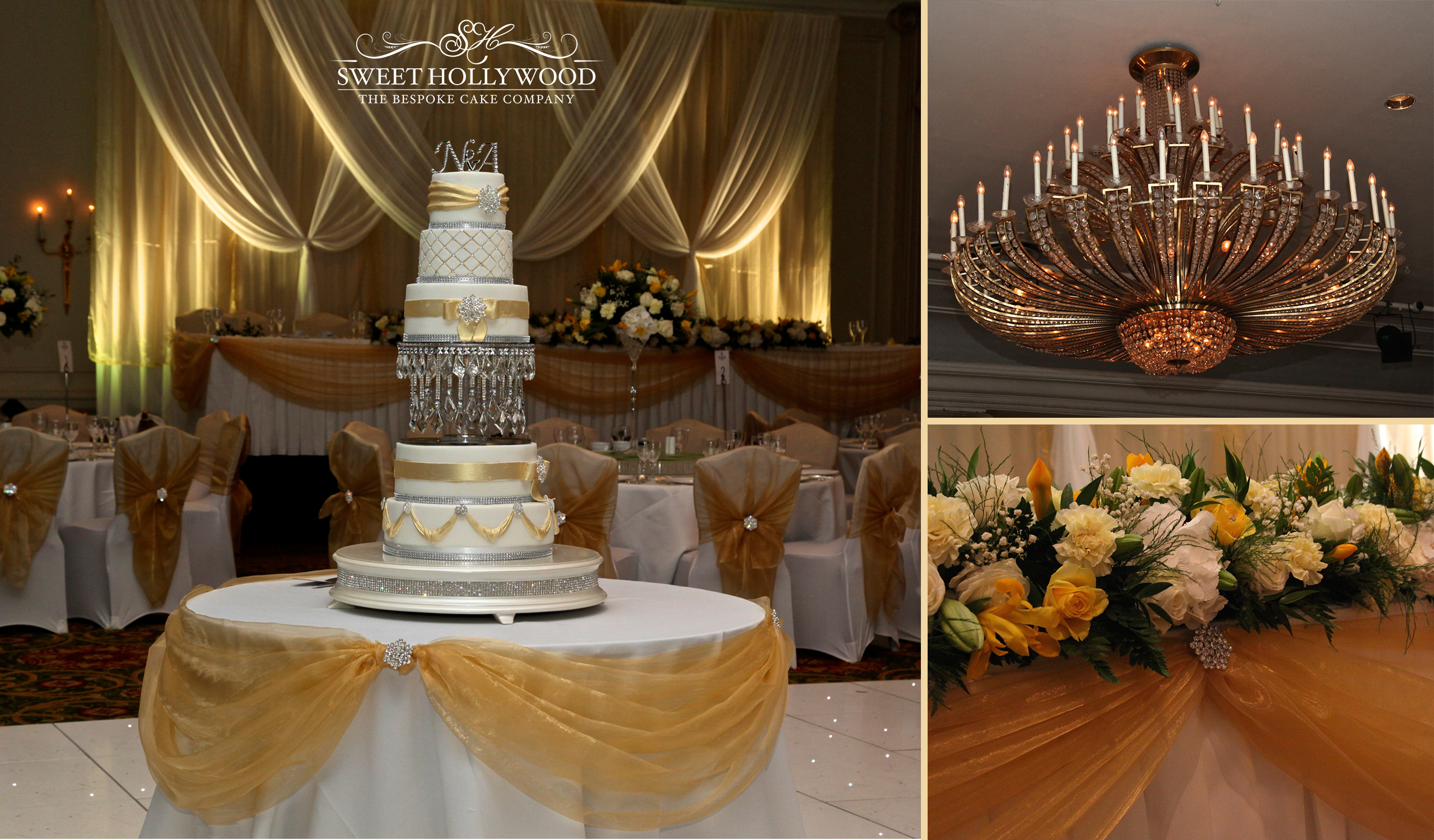 Gold Amp Silver Chandelier Wedding Cake Sweet Hollywood
