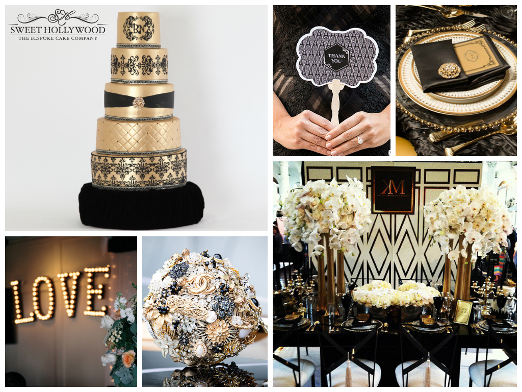 black-and-gold wedding cake