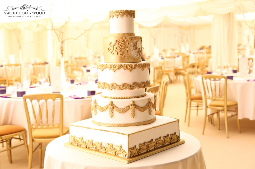 gold regal wedding cake