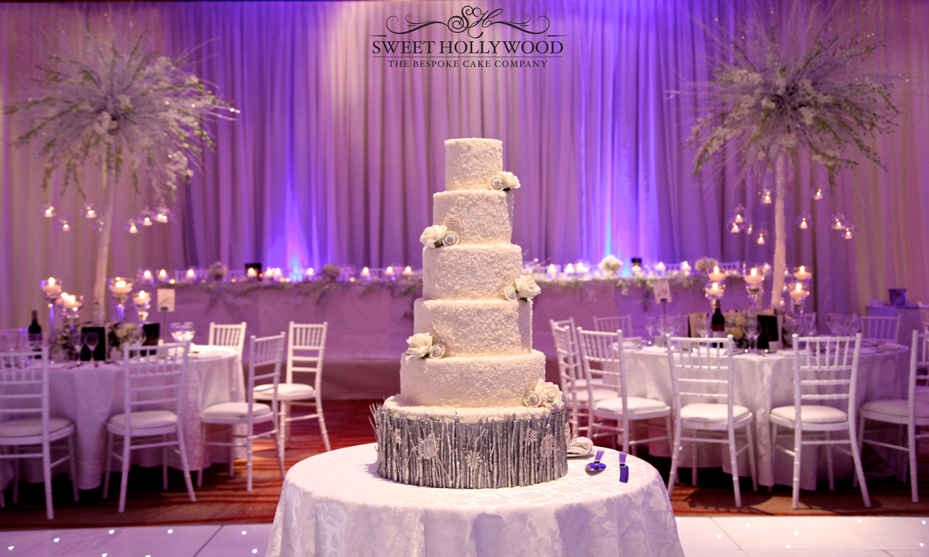 Magical winter themed wedding luxury wedding cake for Asian wedding stage decoration london